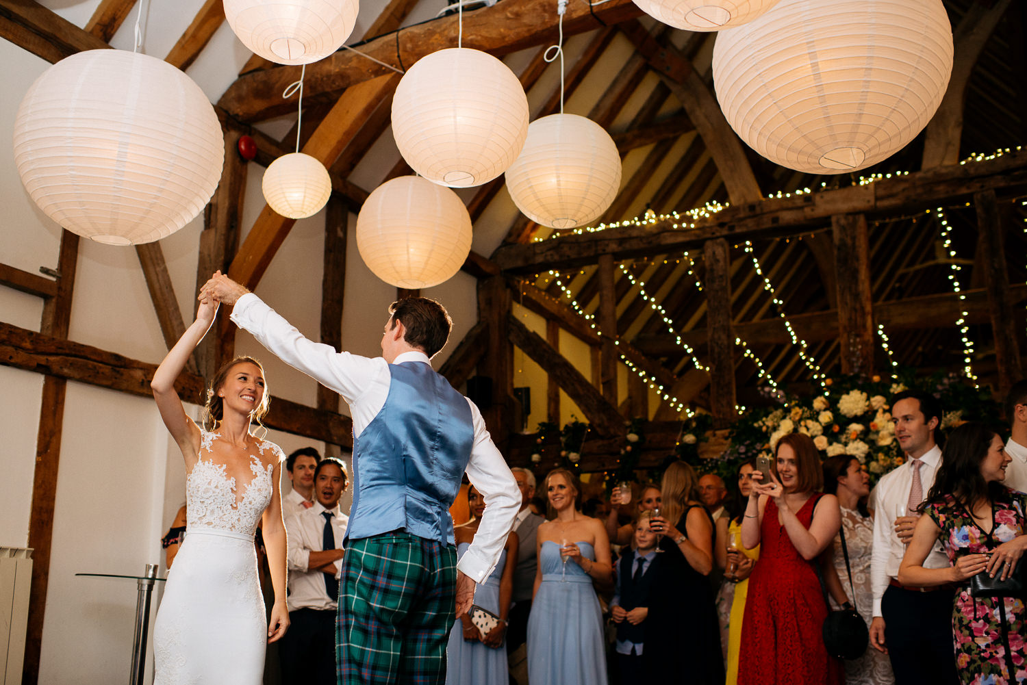 first dance in the barn at Loseley Park