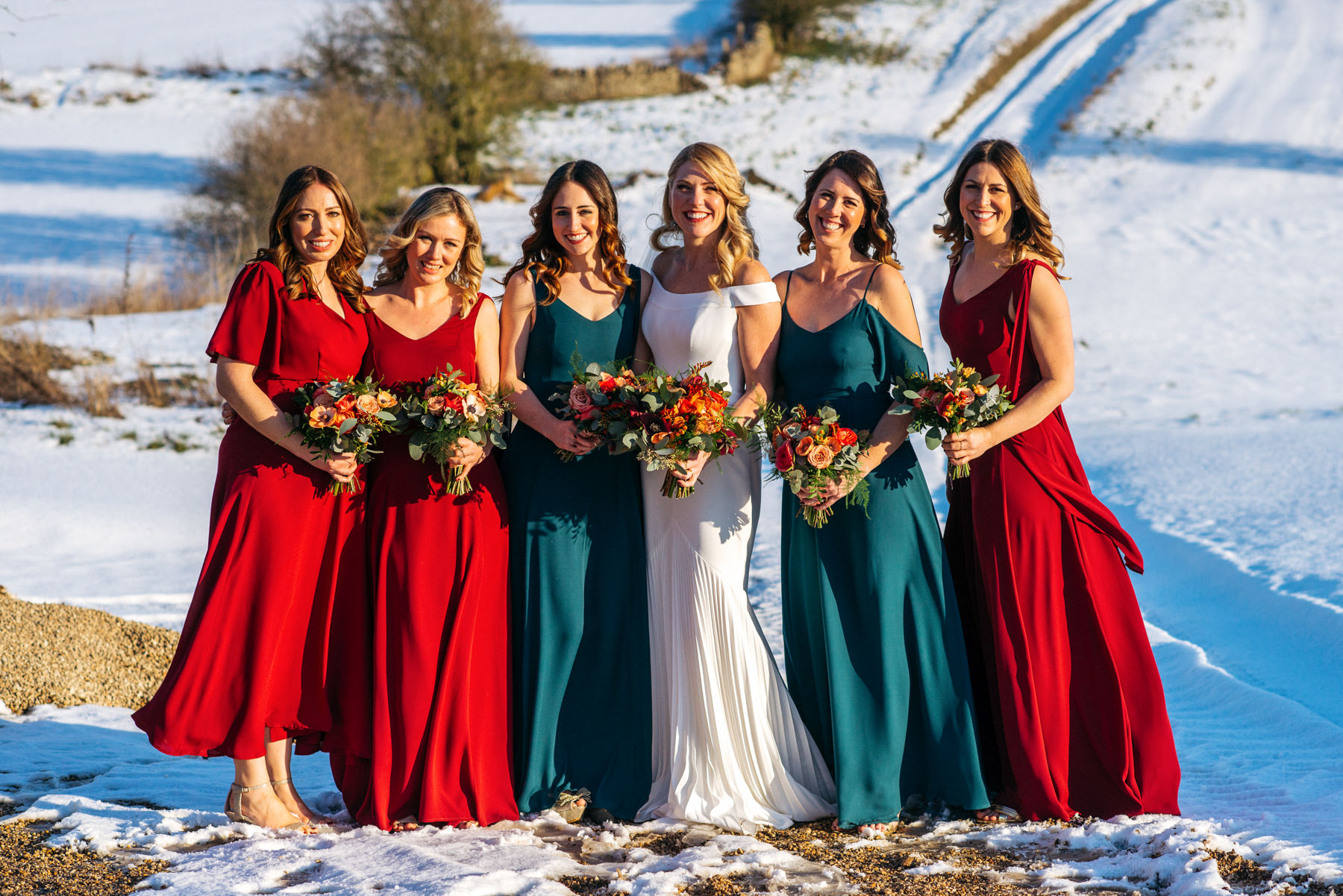 formal wedding photos in snow
