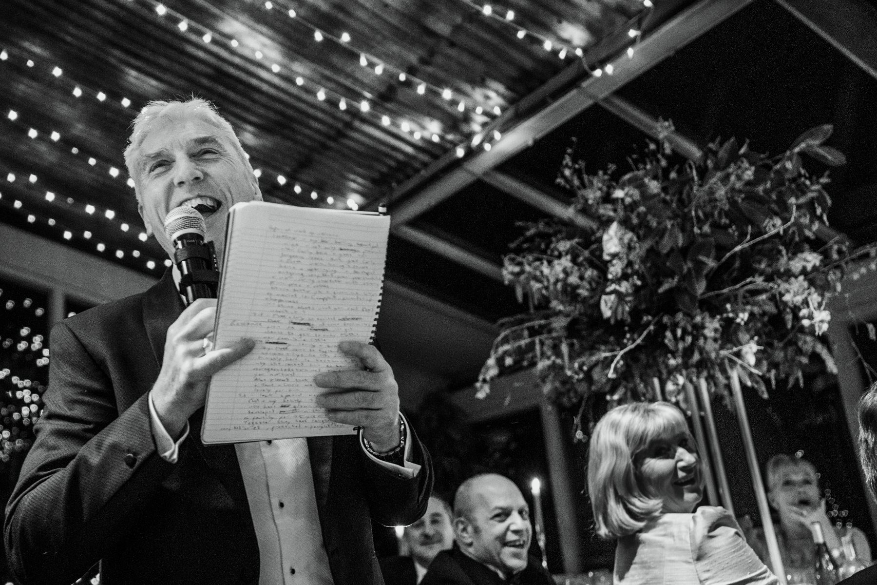 Wedding speeches at Stone Barn