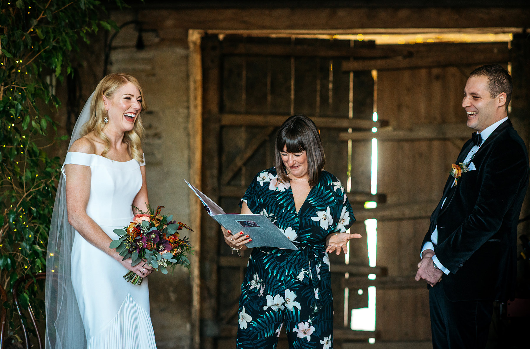 wedding ceremony at Stone Barn