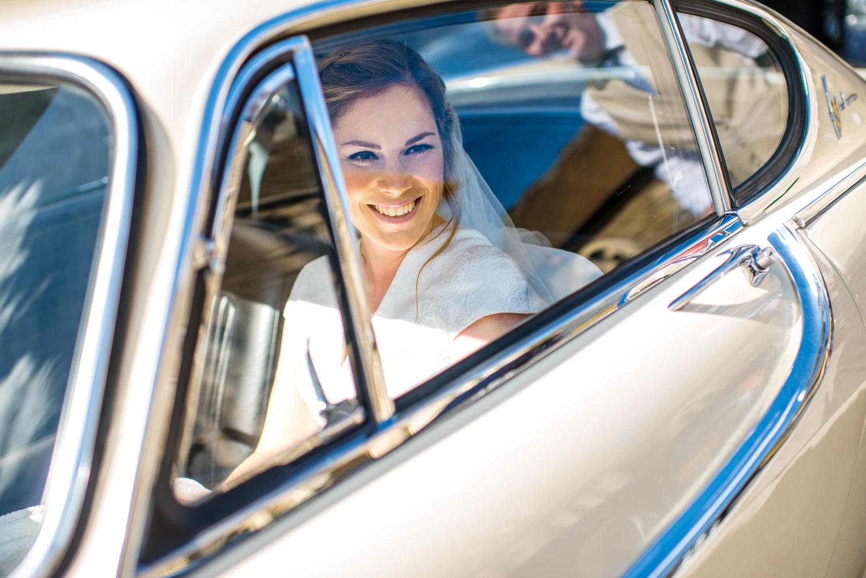 bride is Ford wedding car