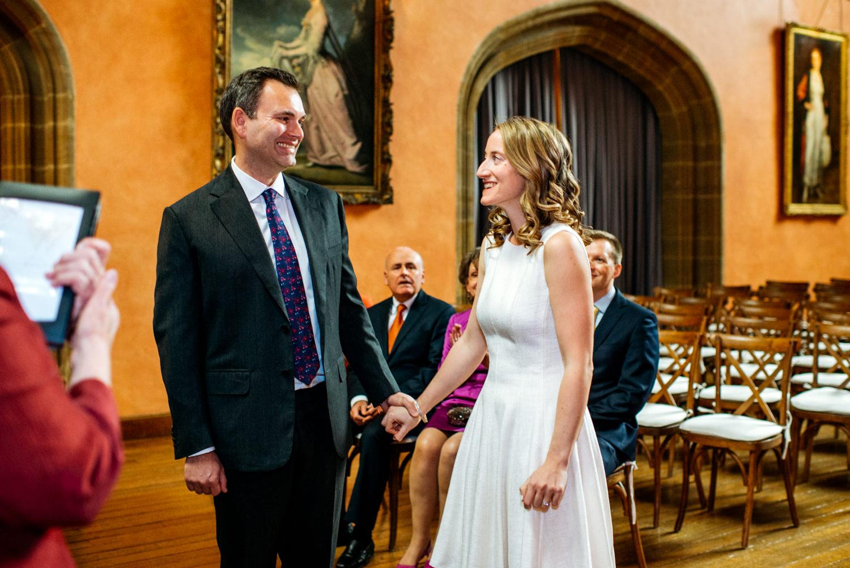 small wedding ceremony in Buck Hall