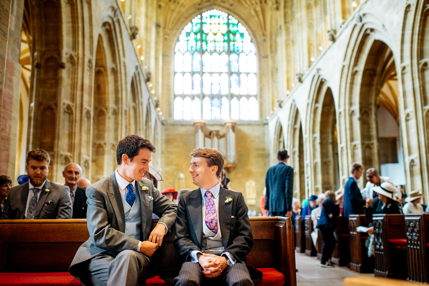groom waiting in Sherborne Abbey