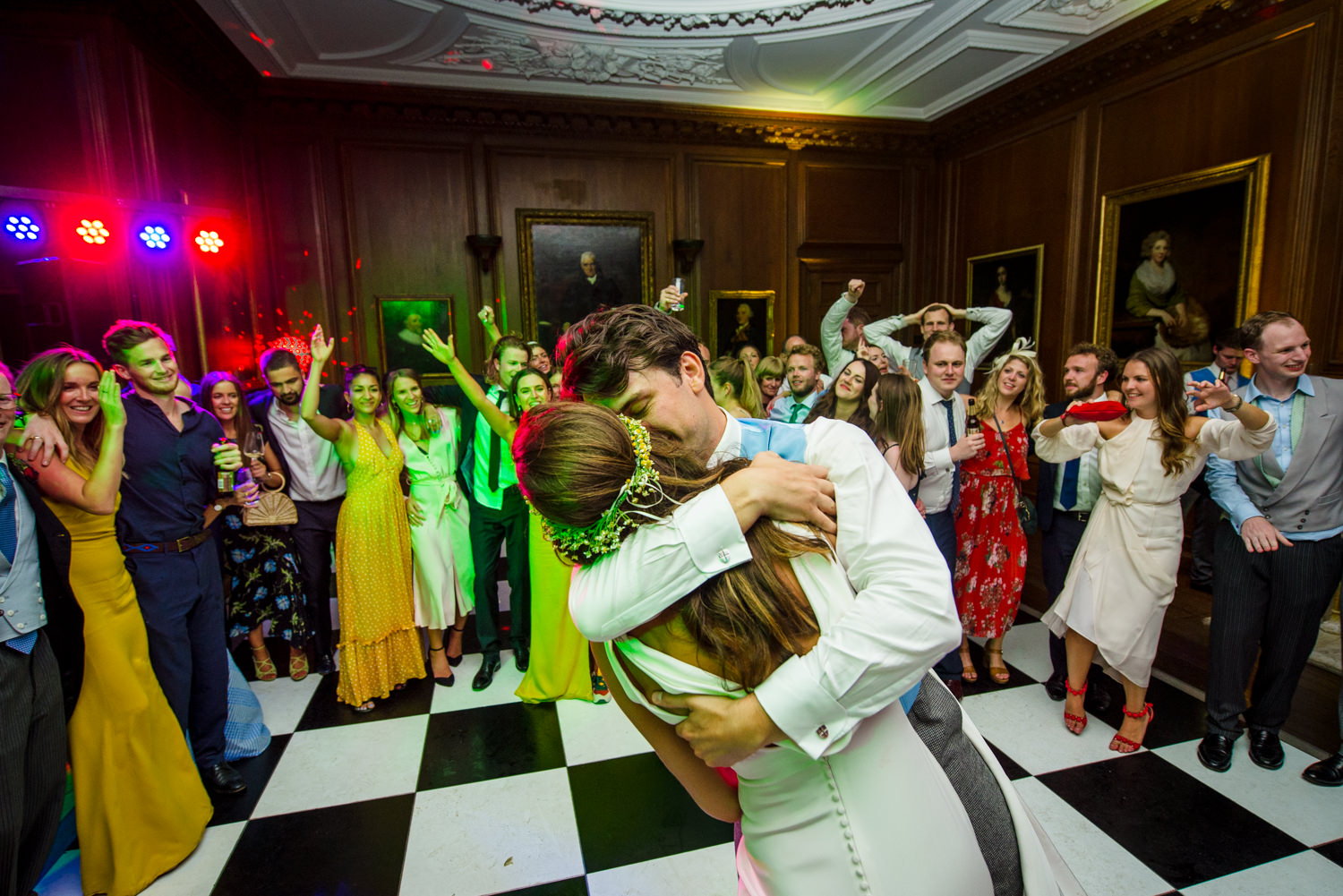 Wedding party dancing at Cowdray House