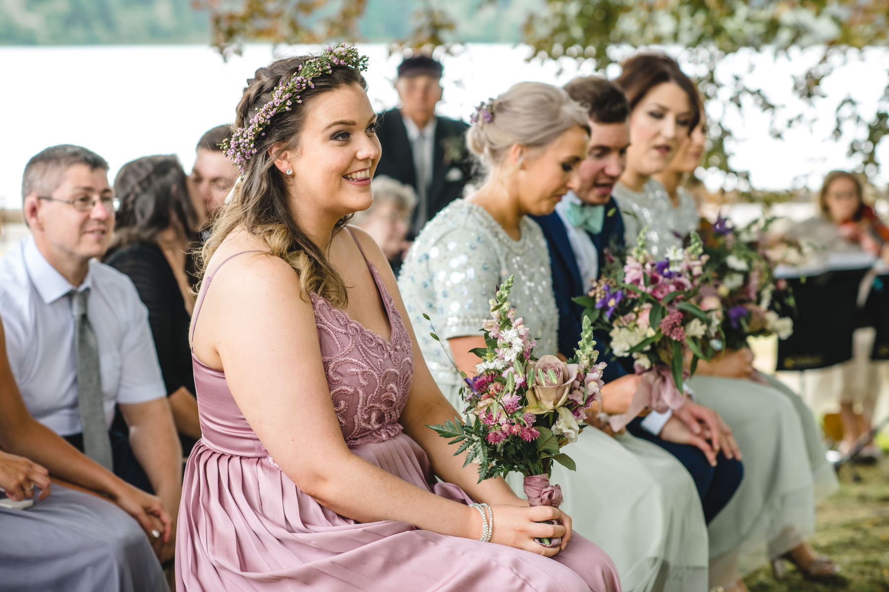 pink bridesmaid dress and flower crown